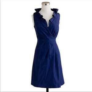 J. Crew Blakey Silk Navy Blue Taffeta Dress E159
